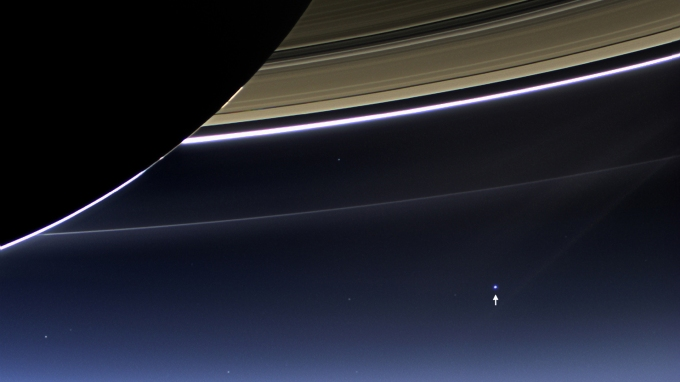 NASA's Cassini spacecraft photographs the Earth and Moon (visible bottom-right) from Saturn (July 19, 2013)