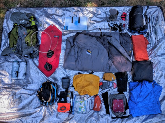 The Spread: Gear laid out for last week's bikepacking trip.